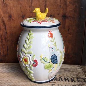 Biscuit ceramic floral container bird top